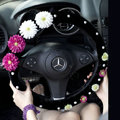 Princess Flowers Pearls Winter Genuine Wool Auto Steering Wheel Covers 15 inch 38CM - Black