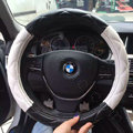Retail and Wholesale Sheepskin Leather Car Steering Wheel Covers 15 inch 38CM - Black White