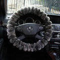 Winter Genuine Wool With Rabbit Fur Auto Steering Wheel Covers 15 inch 38CM - Gray