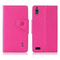 IMAK Cross Flip Leather Cases Book Holster Folder Covers for Gionee E5 - Rose