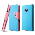 IMAK Cross Flip Leather Cases Book Holster Folder Covers for HTC One 802w 802t 802d - Blue