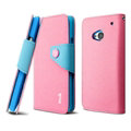 IMAK Cross Flip Leather Cases Book Holster Folder Covers for HTC One 802w 802t 802d - Pink