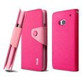 IMAK Cross Flip Leather Cases Book Holster Folder Covers for HTC One 802w 802t 802d - Rose