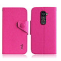 IMAK Cross Flip Leather Cases Book Holster Folder Covers for LG Optimus G2 D801 LS980 - Rose