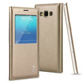 IMAK Earl Windows Leather Cases Holster Covers Skin for Samsung Galaxy A5 A5000 - Golden