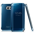 IMAK Mirror Smart Leather Cases Holster Protective Covers for Samsung Galaxy S6 Edge G9250 - Blue
