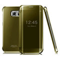 IMAK Mirror Smart Leather Cases Holster Protective Covers for Samsung Galaxy S6 Edge G9250 - Golden