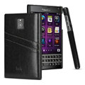 IMAK Sagacity Leather Cases Holster Covers Shell for BlackBerry Passport Windermere Q30 - Black
