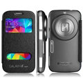 IMAK Shell Leather Cases Holster Covers Skin for Samsung S5 Zoom C1158 K Zoom C1116 - Black