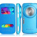 IMAK Shell Leather Cases Holster Covers Skin for Samsung S5 Zoom C1158 K Zoom C1116 - Blue