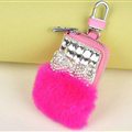 Elegant Universal Crystal Bowknot Genuine Leather Auto Key Bags Key Chain - Rose