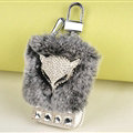 Elegant Universal Crystal Fox Genuine Leather Auto Key Bags Key Chain - Gray