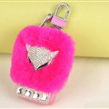 Elegant Universal Crystal Fox Genuine Leather Auto Key Bags Key Chain - Rose