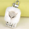 Elegant Universal Crystal Fox Genuine Leather Auto Key Bags Key Chain - White