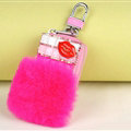 Elegant Universal Crystal Lips Genuine Leather Auto Key Bags Key Chain - Rose
