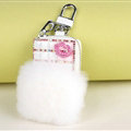 Elegant Universal Crystal Lips Genuine Leather Auto Key Bags Key Chain - White