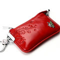 Import Universal Butterfly Genuine Leather Auto Key Bags - Red