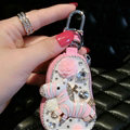 Luxurious Universal Crystal Genuine Leather Auto Key Bags Key Chain - Pink