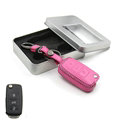 Personalized Genuine Leather Crocodile Grain Auto Key Bags Fold for Volkswagen Bora - Pink