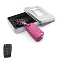 Personalized Genuine Leather Crocodile Grain Auto Key Bags Fold for Volkswagen Golf - Pink