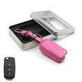 Personalized Genuine Leather Crocodile Grain Auto Key Bags Fold for Volkswagen Polo - Pink