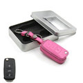 Personalized Genuine Leather Crocodile Grain Auto Key Bags Fold for Volkswagen Sagitar - Pink