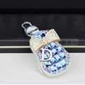Pretty Universal Crystal Bowknot Genuine Leather Auto Key Bags Key Chain - Blue