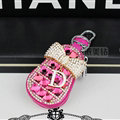 Pretty Universal Crystal Bowknot Genuine Leather Auto Key Bags Key Chain - Rose