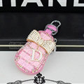 Pretty Universal Crystal Bowknot Genuine Leather Auto Key Bags - Pink