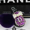 Pretty Universal Crystal Genuine Leather Auto Key Bags Fur Ball Key Chain - Purple