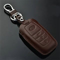 Simple Genuine Leather Auto Key Bags Smart for Toyota FJ Cruiser - Brown