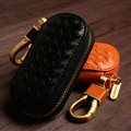 Special Universal Genuine Leather Weave Auto Key Bags - Black