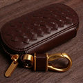 Special Universal Genuine Leather Weave Auto Key Bags - Brown