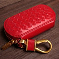Special Universal Genuine Leather Weave Auto Key Bags - Red