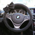Bowknot Car Steering Wheel Cover Bud Silk Fiber Cloth 15 Inch 38CM - Black