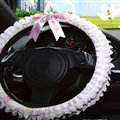 Bowknot Car Steering Wheel Cover Bud Silk Lace Fiber Cloth 15 Inch 38CM - Pink