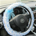 Bud Silk Bowknot Lace Car Steering Wheel Cover Fiber Cloth 15 Inch 38CM - Blue
