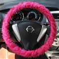 Cheap Lace Car Steering Wheel Cover Bud Silk Fiber Cloth 15 Inch 38CM - Red