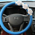 Cool Camellia Car Steering Wheel Wrap PU Leather 15 Inch 38CM - Blue