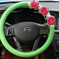 Cool Camellia Car Steering Wheel Wrap PU Leather 15 Inch 38CM - Green