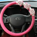Cool Camellia Dot Car Steering Wheel Wrap PU Leather 15 Inch 38CM - Rose