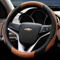 Cooling Car Steering Wheels Covers Genuine Leather 15 Inch 38CM - Black Brown