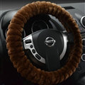 Discount Auto Steering Wheel Covers Velvet 15 Inch 38CM - Brown