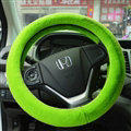 Discount Car Steering Wheel Covers Velvet 15 Inch 38CM - Green