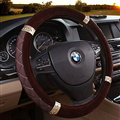 Embroidery Auto Steering Wheel Covers Velvet 15 Inch 38CM - Brown
