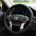 Exquisite Car Steering Wheel Wrap Genuine Leather 15 Inch 38CM - Black