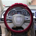 Exquisite Diamond Car Steering Wheel Wrap Cotton 15 Inch 38CM - Red