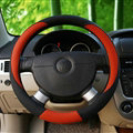Fashion Car Steering Wheel Covers Sheepskin Leather 15 Inch 38CM - Red