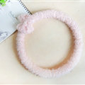 Floral Bowknot Car Steering Wheel Cover Bud Silk Fiber Cloth 15 Inch 38CM - Pink