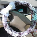 Floral Bud Silk Bowknot Car Steering Wheel Cover Velvet 15 Inch 38CM - Purple